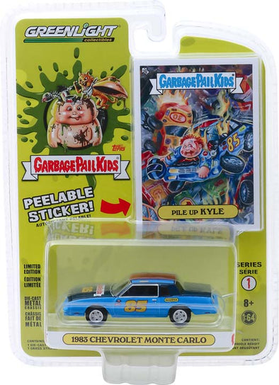 GreenLight 1/64 Garbage Pail Kids Series 1 - Pile Up Kyle - 1983 Chevrolet Monte Carlo Solid Pack #54010-B