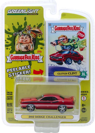 GreenLight 1/64 Garbage Pail Kids Series 1 - Clutch Clint - 2012 Dodge Challenger Solid Pack #54010-F