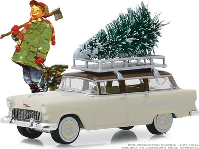 GreenLight 1/64 Norman Rockwell Series 2 - 1955 Chevrolet 210 Townsman with Christmas Tree Accessory Solid Pack #54020-B