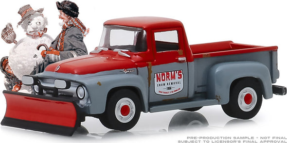 GreenLight 1/64 Norman Rockwell Series 2 - Norm's Snow Removal - 1956 Ford F-100 with Snow Plow Solid Pack #54020-C