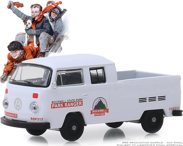 GreenLight 1/64 Norman Rockwell Series 2 - Rockwell State Park - 1972 Volkswagen Type 2 Double Cab Pickup Ladder Truck Solid Pack #54020-E