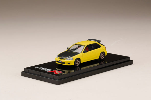 Hobby Japan 1/64 Honda CIVIC Type R EK9 Customized Ver. Carbon Bonnet Sunlight Yellow - HJ641016CY