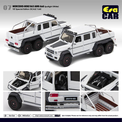 ERA CAR 07 1/64 Mercedes-Benz G63 AMG 6x6 Spotlight White (1ST SPECIAL EDITION)