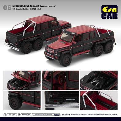 ERA CAR 06 1/64 Mercedes-Benz G63 AMG 6x6 Red & Black (1ST SPECIAL EDITION)