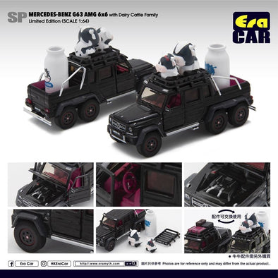 ERA CAR 1/64 Mercedes-Benz G63 AMG 6x6 with Dairy Cattle Family (LIMITED  EDITION)