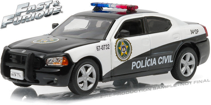 "GreenLight 1/43 Fast & Furious - Fast Five (2011) - 2006 Dodge Charger Rio Police ""Policia Civil"" #86237"