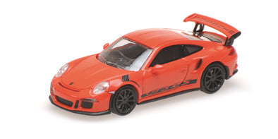 Minichamps 1/87 PORSCHE 911 GT3 RS - 2013 - ORANGE W/ STRIPES - 870063226