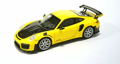 Minichamps 1/87 PORSCHE 911 GT2 RS - 2018 - YELLOW W/ CARBON BONNET - 870068124