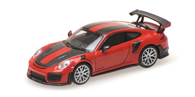 Minichamps 1/87 PORSCHE 911 GT2 RS - 2018 - RED W/ CARBON STRIPES - 870068126
