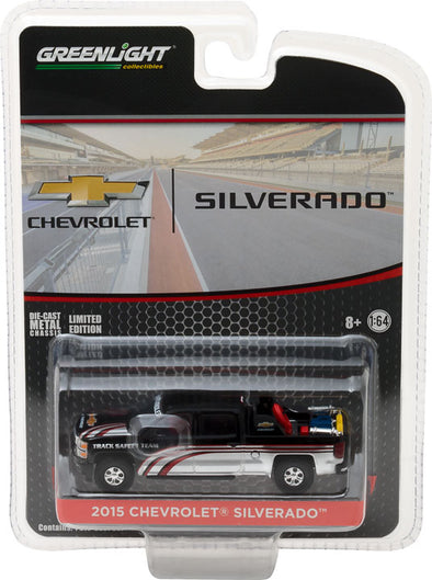 GreenLight 1/64 2015 Chevy Silverado in Black with Safety Equipment in Truck Bed (Hobby Exclusive)  #29896