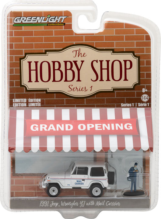"GreenLight 1/64 The Hobby Shop Series 1 - 1991 Jeep Wrangler YJ ""Mail Carrier"" with Mail Carrier Solid Pack - #97010-D"
