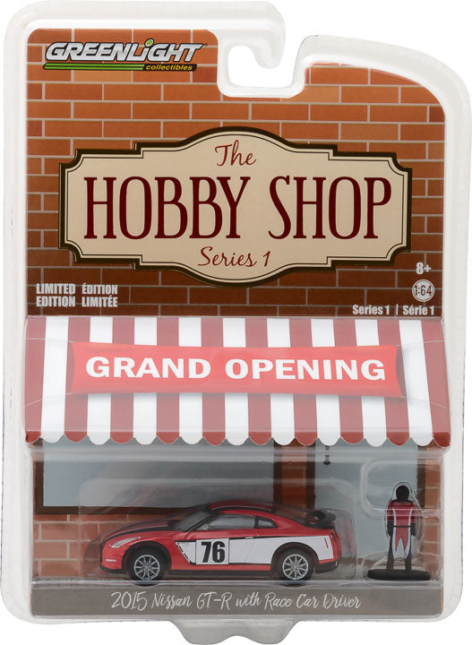 GreenLight 1/64 The Hobby Shop Series 1 - 2015 Nissan GT-R with Race Car Driver Solid Pack - #97010-E