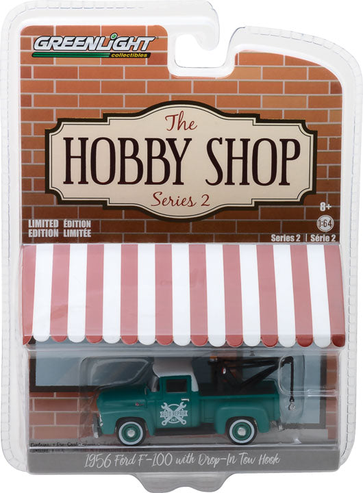 GreenLight 1/64 The Hobby Shop Series 2 - 1956 Ford F-100 with Drop-in Tow Hook Solid Pack - #97020-A