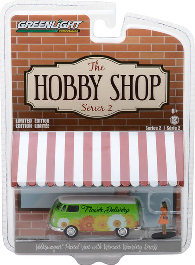 GreenLight 1/64 The Hobby Shop Series 2 - 1976 Volkswagen Type 2 Panel Van with Woman in Dress Solid Pack - #97020-B