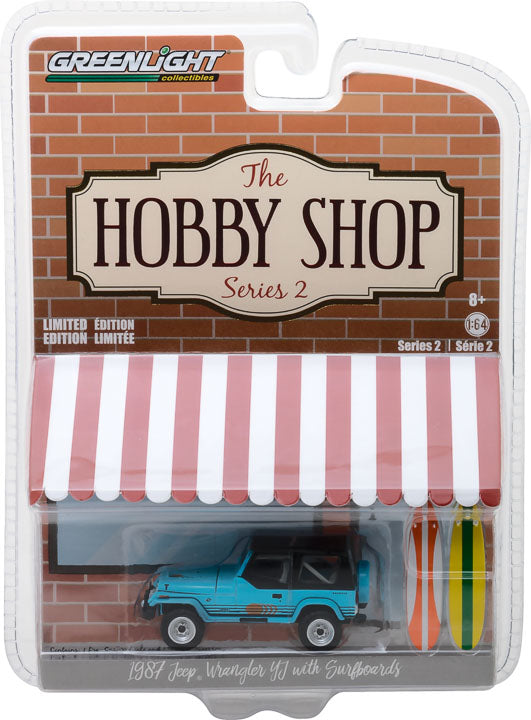 GreenLight 1/64 The Hobby Shop Series 2 - 1987 Jeep Wrangler YJ with Surfboard Solid Pack - #97020-C