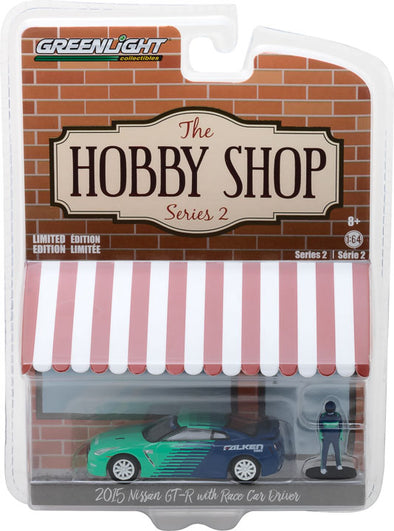 GreenLight 1/64 The Hobby Shop Series 2 - 2015 Nissan GT-R (R35) Falken Tires with Race Car Driver Solid Pack - #97020-D