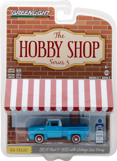 GreenLight 1/64 The Hobby Shop Series 3 - 1954 Ford F-100 with Vintage Ford Motor Company Gas Pump Solid Pack - #97030-A