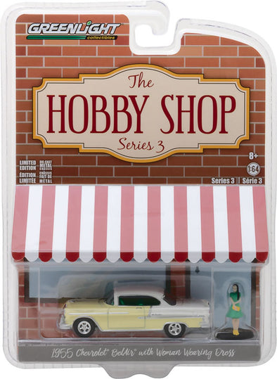 GreenLight 1/64 The Hobby Shop Series 3 - 1955 Chevy Bel Air with Woman in Dress Solid Pack - #97030-B