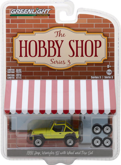GreenLight 1/64 The Hobby Shop Series 3 - 1991 Jeep YJ with Mud Spray and Spare Tires Solid Pack - #97030-D
