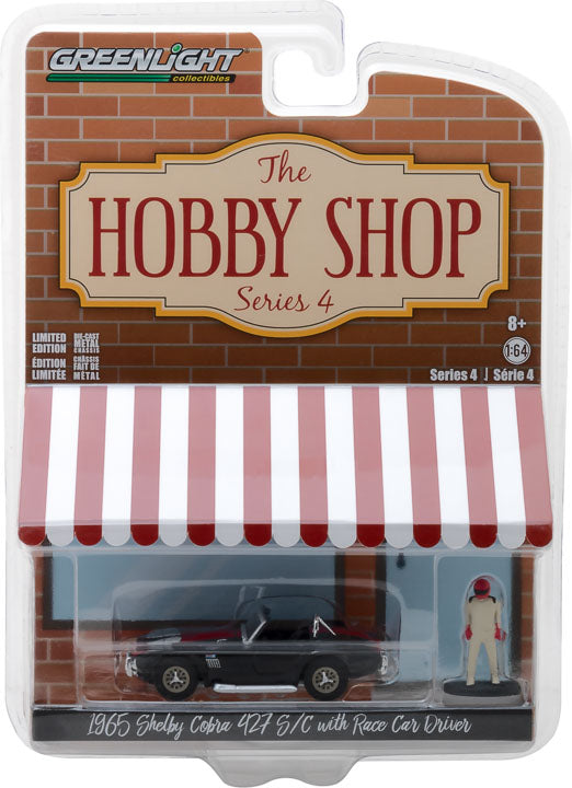 GreenLight 1/64 The Hobby Shop Series 4 - 1965 Shelby Cobra with Race Car Driver Solid Pack - #97040-A