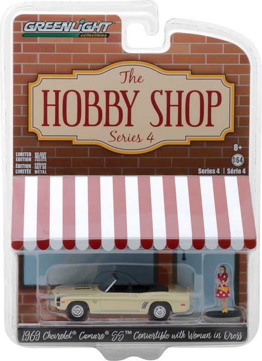 GreenLight 1/64 The Hobby Shop Series 4 - 1969 Chevrolet Camaro Convertible with Woman in Dress Solid Pack - #97040-B