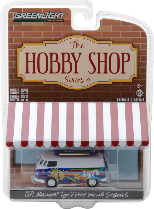 GreenLight 1/64 The Hobby Shop Series 4 - 1971 Volkswagen Type 2 Panel Van with Surfboards Solid Pack - #97040-C