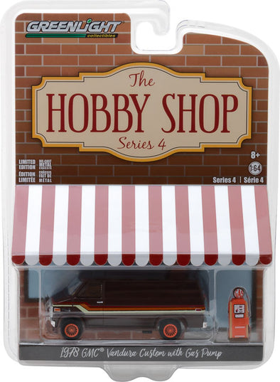GreenLight 1/64 The Hobby Shop Series 4 - 1978 GMC Vandura Custom with Gas Pump Solid Pack - #97040-D