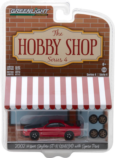 GreenLight 1/64 The Hobby Shop Series 4 - 2002 Nissan Skyline GT-R (R34) with Spare Tires Solid Pack - #97040-E