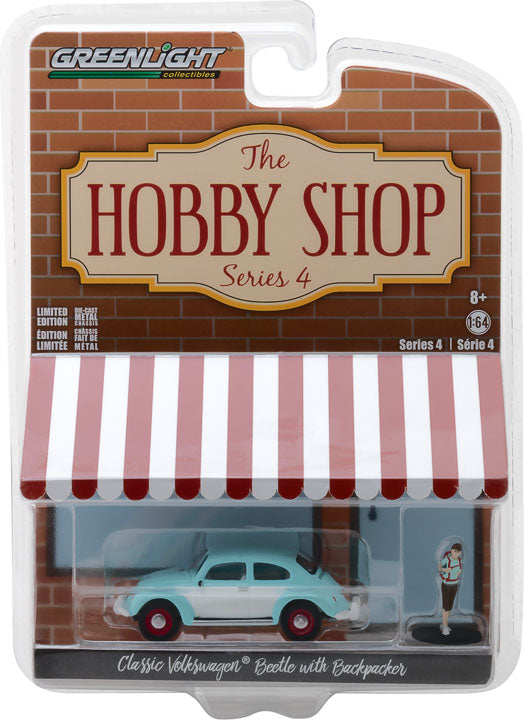 GreenLight 1/64 The Hobby Shop Series 4 - Classic Volkswagen Beetle with Backpacker Solid Pack - #97040-F