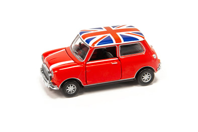 Tiny City 153 Die-cast Model Car - Mini Cooper Mk1 Red with Union Jack Roof & White Bonnet Stripes (RHD) -  ATC64542