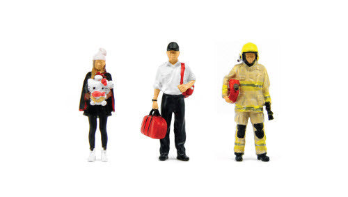 Tiny 1/43 Resin Figure Set 05 Firemen & Girl with doll 1/43 樹脂公仔套裝05消防員和公仔少女 - ATFS43006