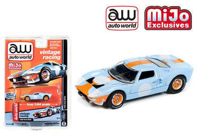 * Limit to TWO per person* Auto World x Mijo 1/64 1965 Ford GT40, gulf blue / orange