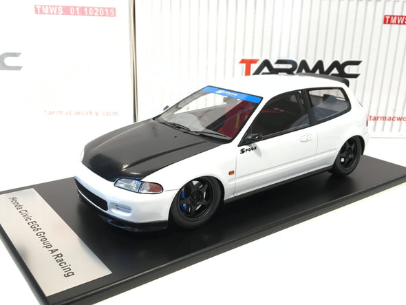 Tarmac Works 1/18 Spoon Gr.A Racing Honda Civic EG6 - White with black bonnet - T01-WH