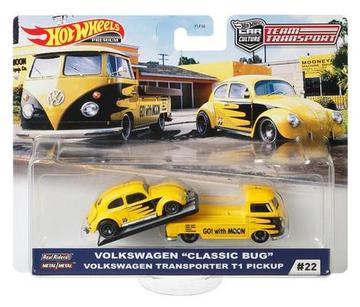 "Hot Wheels 2020 TEAM TRANSPORT Case H -  VW ""CLASSIC BUG"" VW TRANSPORTER T1 PICKUP #22"