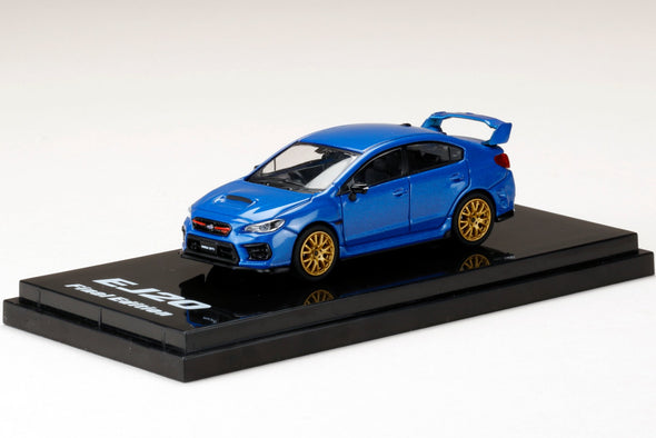 Hobby Japan 1/64 SUBARU WRX STI EJ20 Final Edition with EJ20 Engine Display Model Blue Pearl