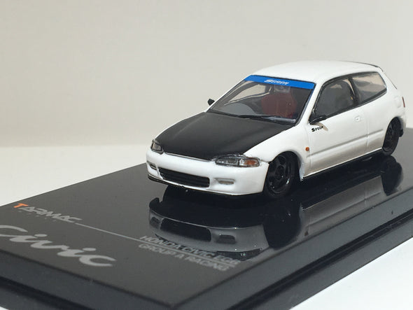 """LIMITED 2 PER PERSON"" Tarmac Works Hobby64 Honda Civic EG6 Gr.A Racing White with black bonnet - Wave 2 - T12-WH"