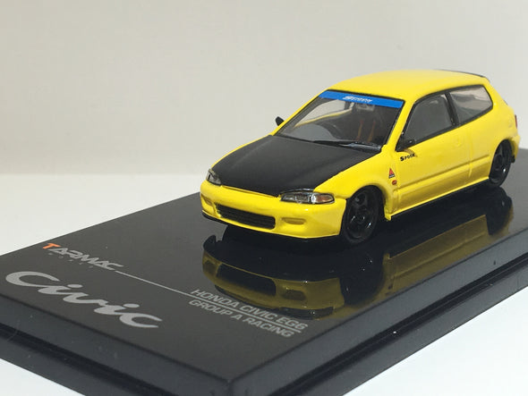 """LIMITED 2 PER PERSON"" - Tarmac Works Hobby64 Honda Civic EG6 Gr.A Racing Yellow with black bonnet - Wave 3 - T12-YL"
