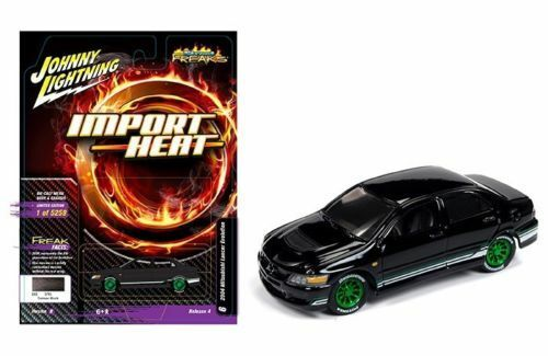 Johnny Lightning 1/64 STREET FREAKS MITSUBISHI LANCER IMPORT HEAT BLACK - JLCP7122
