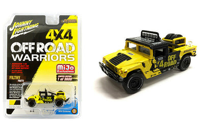 Johnny Lightning 1/64 Mijo Hummer H1 Race Truck 4x4 Off Road Warriors Baja Black/Yellow - JLCP7157