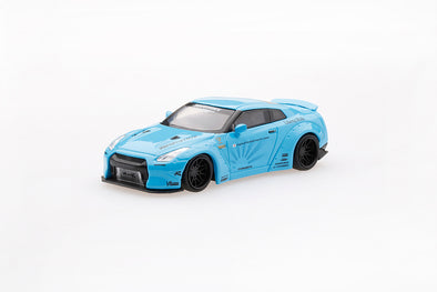 TSM Model Mini GT MINI GT 1/64 LB★WORKS Nissan GTR R35 Type 1, Rear Wing Ver 2, Light Blue(RHD) - AMGT00004-R