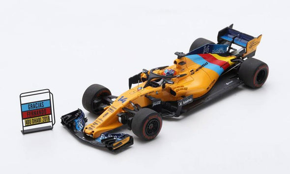 Spark 1/43 MCLAREN F1 TEAM NO.14 ABU DHABI GP 2018  MCLAREN MCL33  FERNANDO ALONSO  (LAST RACE - SPECIAL PACKAGE WITH TYRE MARKS) - S6069