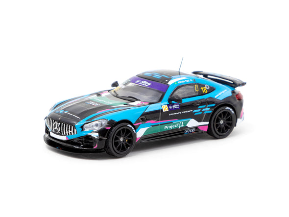 Tarmac Works HOBBY64 Mercedes-AMG GT4 Greater Bay Area GT Cup Macau 2019 Winner Kevin Tse - T64-006-19MGP18