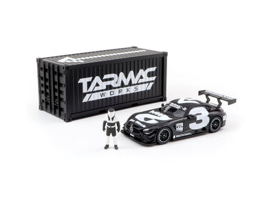 Tarmac Works HOBBY64 Mercedes-AMG GT3 4A Like Black No. 3 (White) with Container - T64-008-4A3W