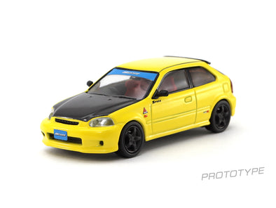 Tarmac Works HOBBY64 Honda Civic Type R EK9 Yellow with Black Bonnet Tuned By SPOON - T64-010-YL
