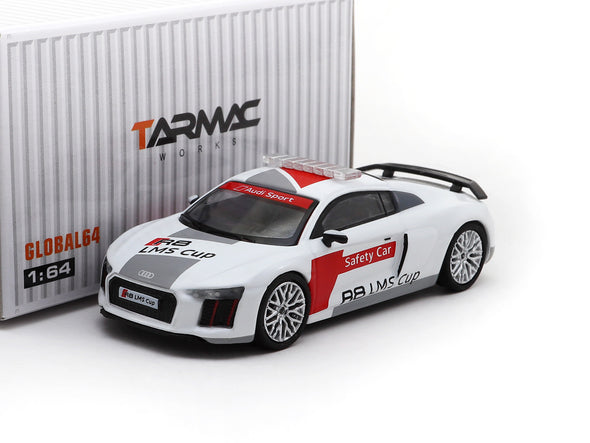 Tarmac Works GLOBAL64 Audi R8 V10 PLUS Audi R8 LMS Cup Safety Car (silver multi-spoke rims) - T64G-001-ACSC