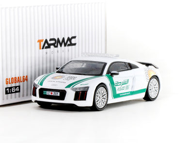 Tarmac Works GLOBAL64 Audi R8 V10 PLUS Dubai Police (silver multi-spoke rims) - T64G-001-DP