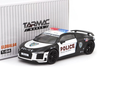 "Tarmac Works GLOBAL64 - Audi R8 V10 Plus Police ""Protect & Serve"" - T64G-001-PS"