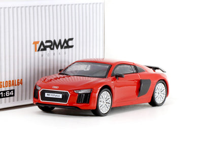Tarmac Works GLOBAL64 Audi R8 V10 PLUS Dynamite Red (silver multi-spoke rims) - T64G-001-RE