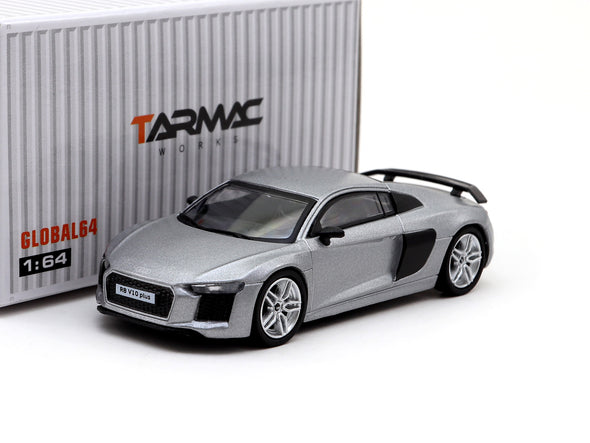 Tarmac Works GLOBAL64 Audi R8 V10 PLUS Matte Silver (silver 5-spoke rims) - T64G-001-SL