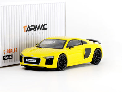 Tarmac Works GLOBAL64 Audi R8 V10 PLUS Vegas Yellow (black multi-spoke rims) - T64G-001-YL